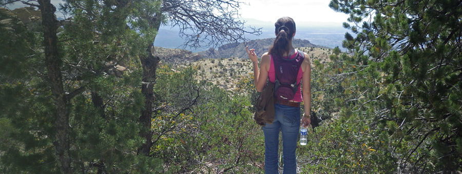 Photo of Mirasol client on a hike in the Catalina Mountains